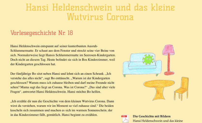 Vorlesegeschichte für Kindergartenkinder über Corona