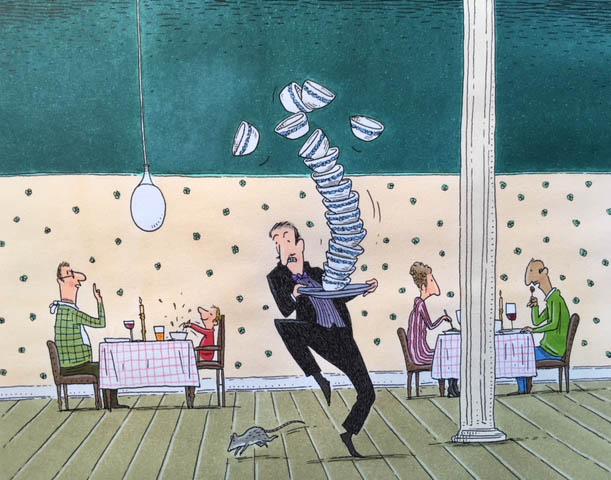 Kellner mit Tellern: Zeichnung von Philip Waechter