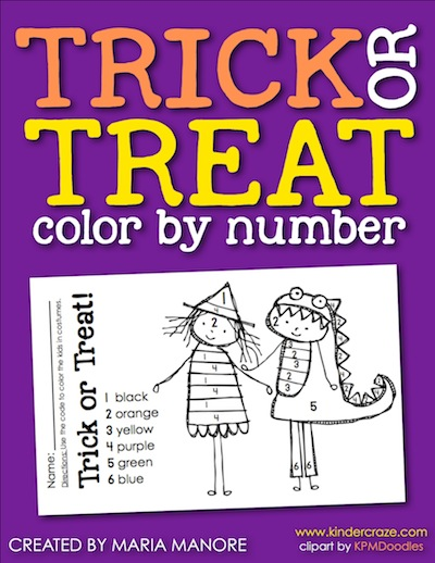 free halloween color by number trick and treat blog hop