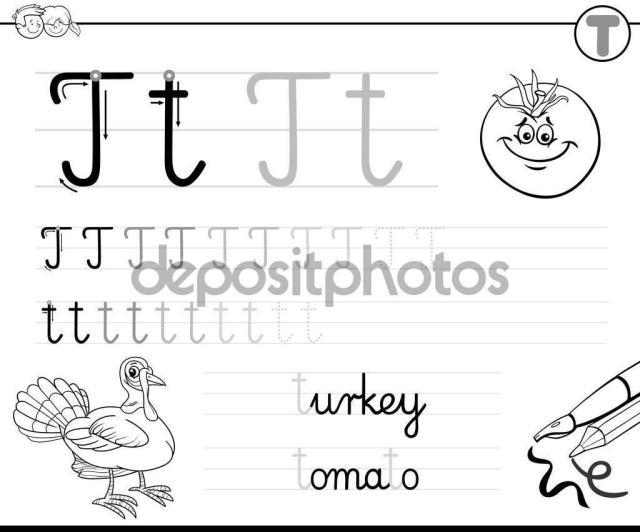 Voorschoolse Werkbladen Letter T 1