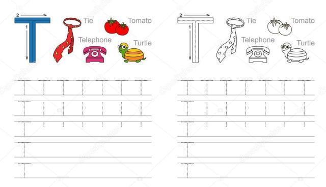 Voorschoolse Werkbladen Letter T 2