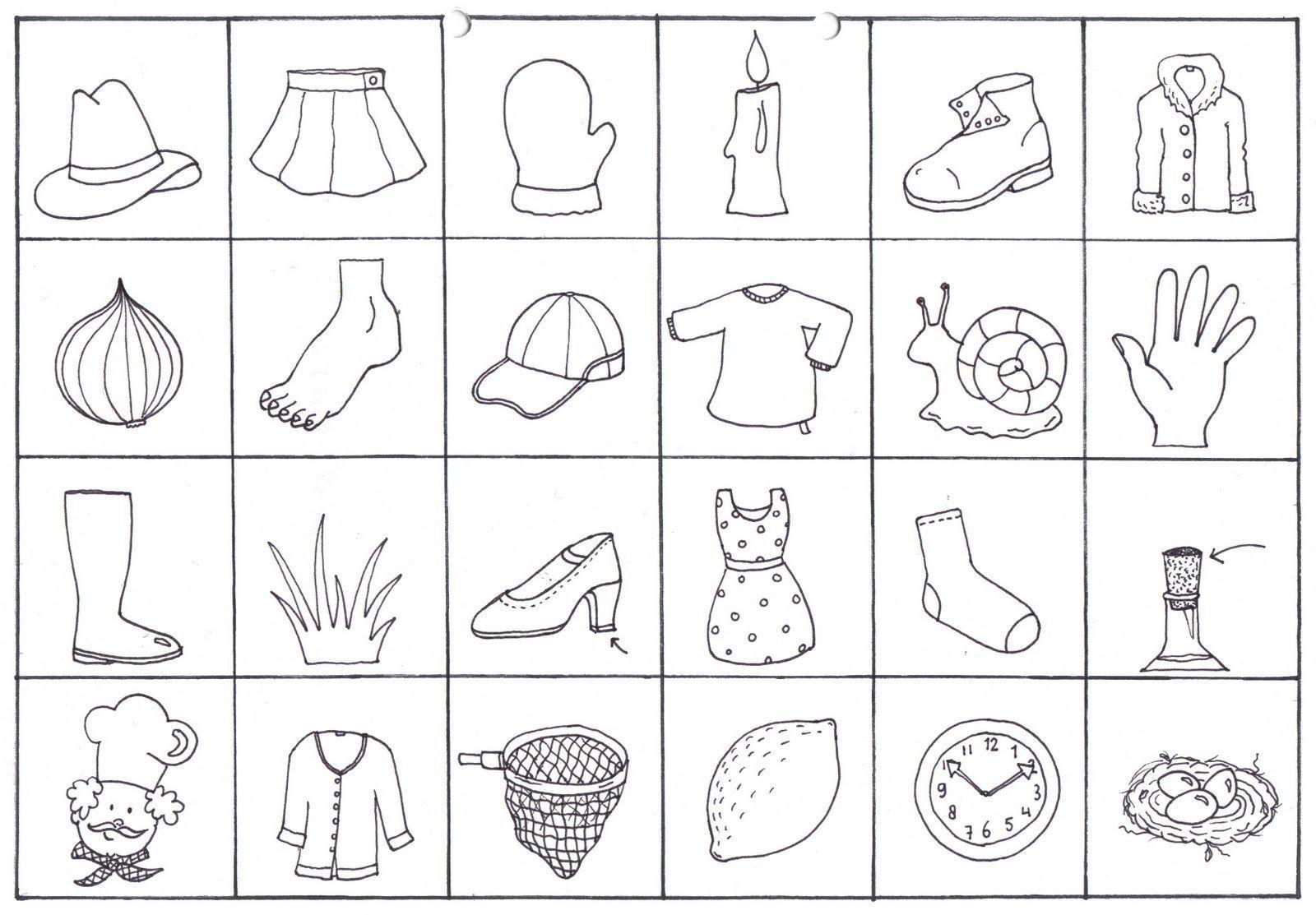 Voorschoolse Werkbladen Rijmwoorden 1