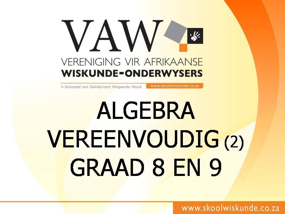 Wiskunde Werkbladen Algebra 2 1