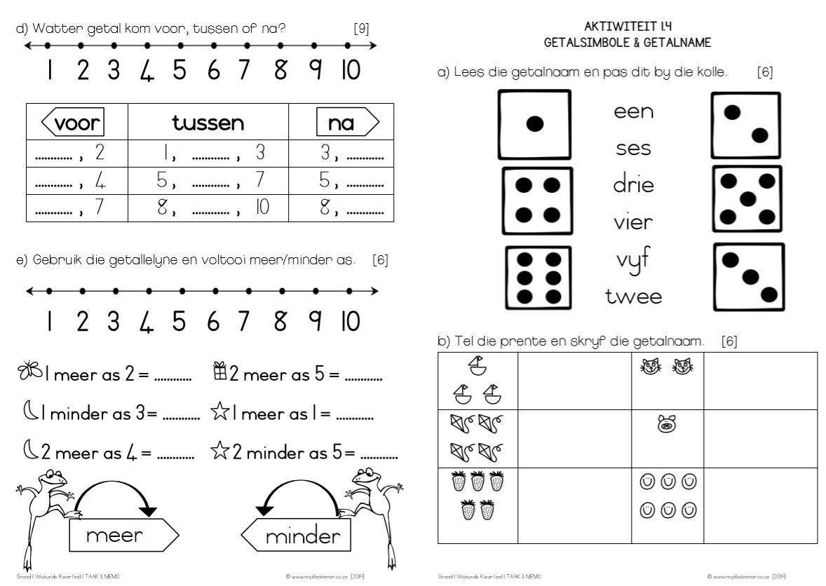 Wiskunde Werkbladen Graad 1 4