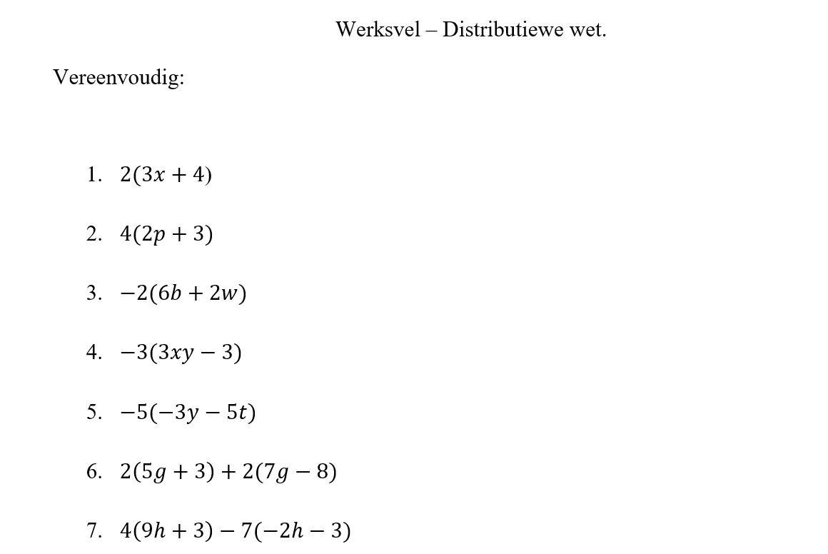 Algebra-werkbladen Graad 7 Met Antwoorden 5