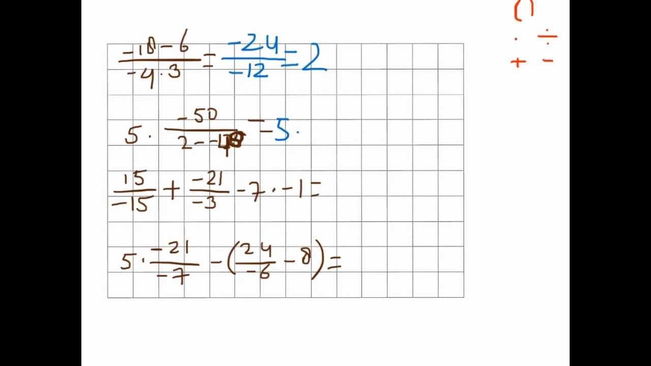 Wiskunde Werkbladen Negatieve Getallen 8