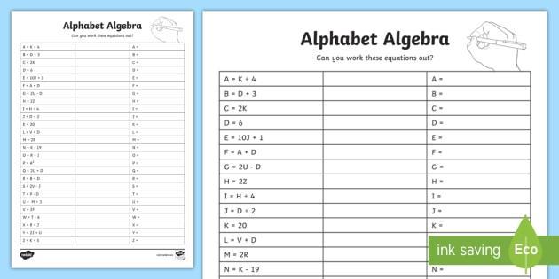 Algebra-werkbladen Ks2 4