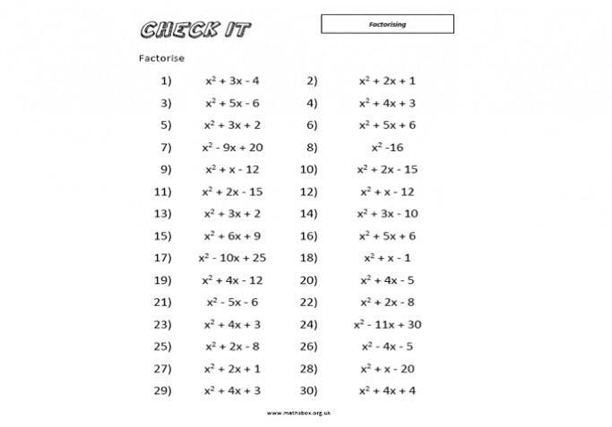 Algebra-werkbladen Ks2 7