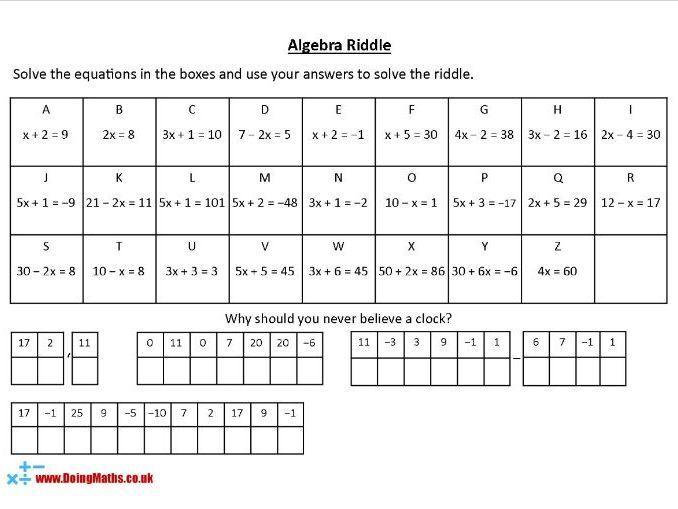 Algebra-werkbladen Ks3 2