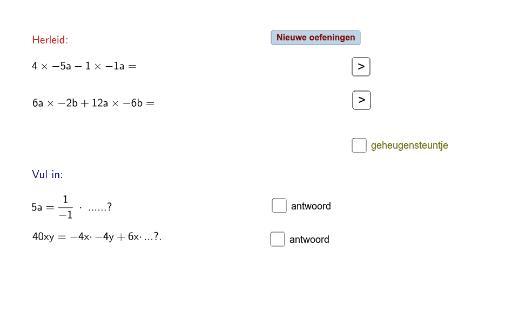 Algebra-werkbladvergelijkingen 4