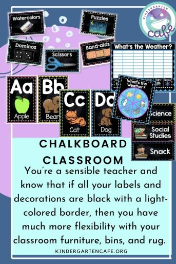 Chalkboard classroom elementary theme includes classroom labels, weather chart, schedule cards, and alphabet cards!