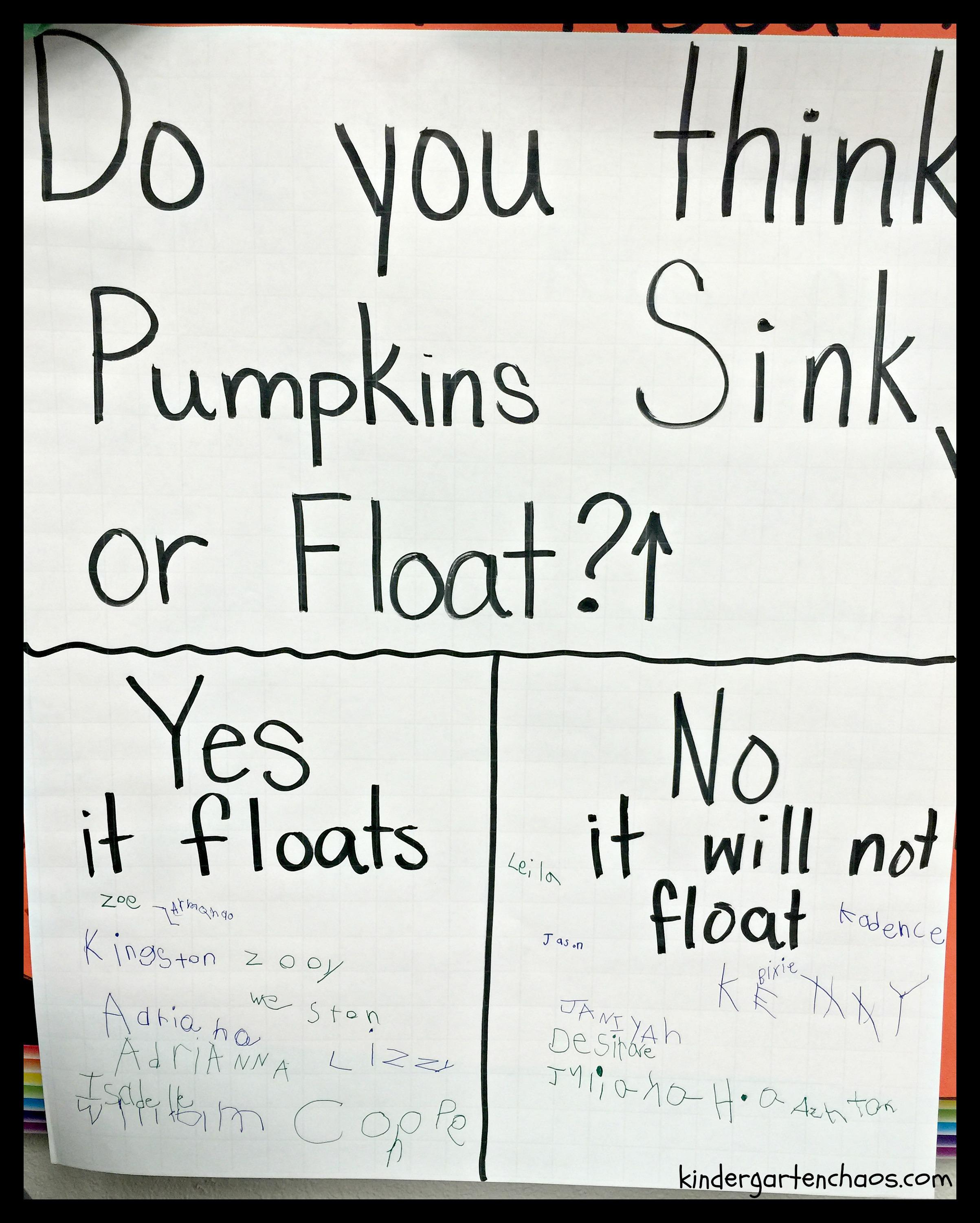 Pumpkin Sink Or Float Anchor Chart