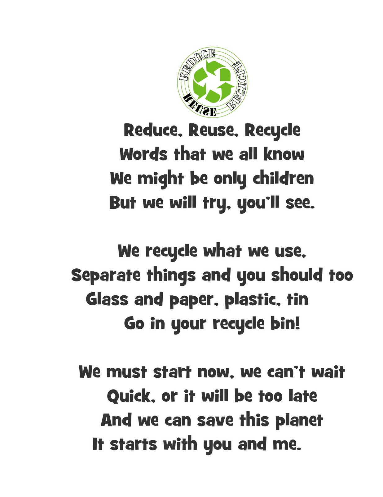 Poems And Songs For The Reduce Reuse Recycle Unit Welcome To Kindergarten