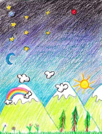 crayon mountain sketch