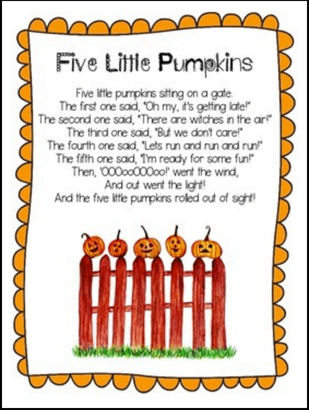 graphic regarding 5 Little Pumpkins Printable named 5 Minimal Pumpkins - Printable Poem and Things to do
