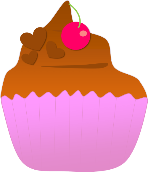chocolate ice cream cup with cherry clipart