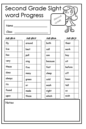 Second Grade Sight Words Free Printables