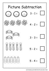 Basic Picture Subtraction Worksheet free printable