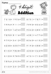 4 digit addition worksheets