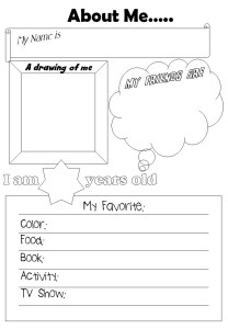 printable About me worksheet