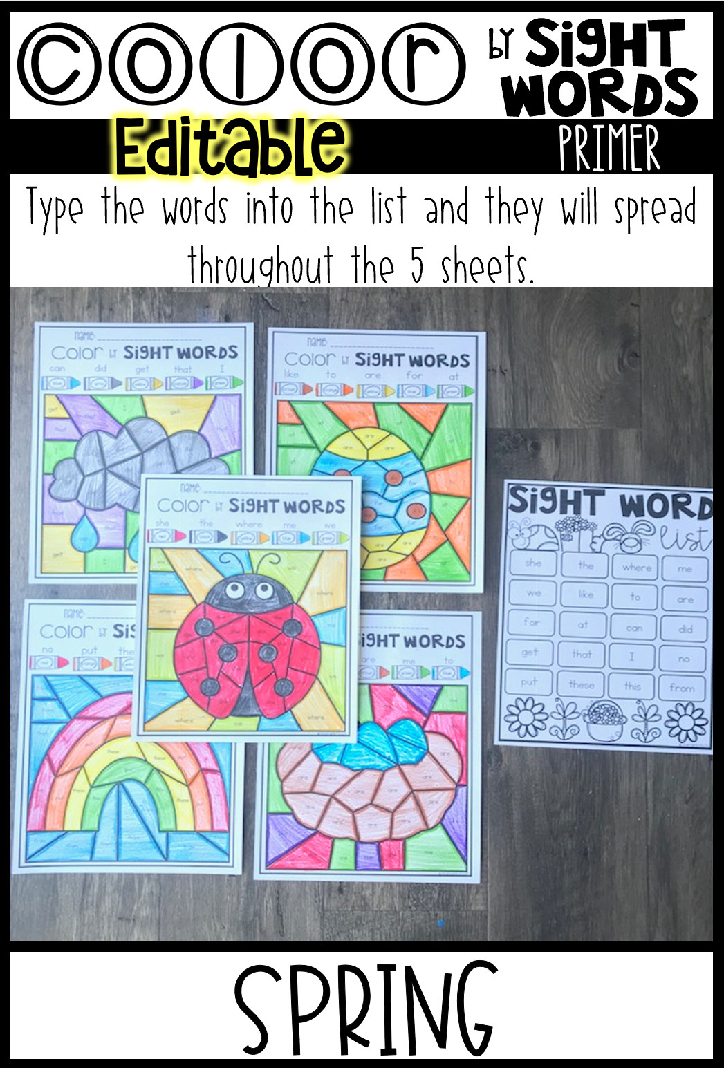 Spring Sight Word Activities Color By Sight Words Primer