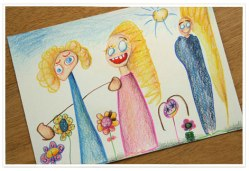Een tekening die ik heb gemaakt, door tekeningen van mijn dochter als inspiratie te gebruiken
