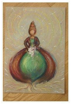€ 25,- | Koningin der bloembollen - Sotpastel en goache op 100% gerecycled papier - 24 x 32 cm - 110 gr/m2