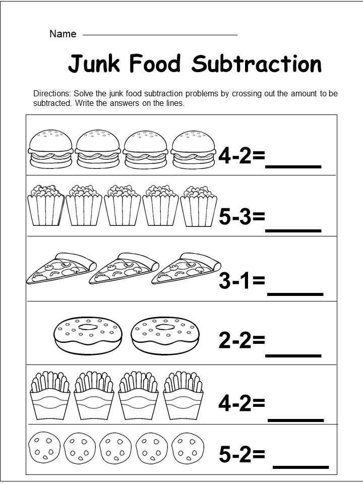 free kindergarten subtraction worksheet. Black Bedroom Furniture Sets. Home Design Ideas