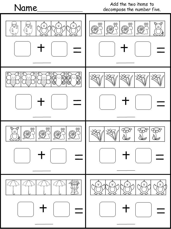 Kindergarten Decomposing Worksheet (Number 5) - kindermomma.com
