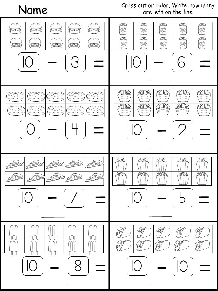 free kindergarten subtraction printable. Black Bedroom Furniture Sets. Home Design Ideas