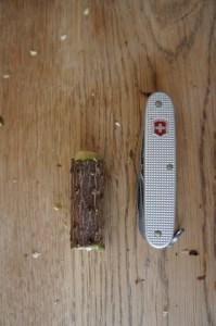 Wir schnitzen mit dem Taschenmesser ein Ende vom Holz rund.  Foto (c) kinderoutdoor.de