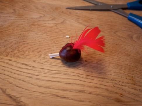 Der Vogelkopf den wir aus der Kastanie gebastelt haben, ist nun so gut wie fertig. foto (c) kinderoutdoor.de