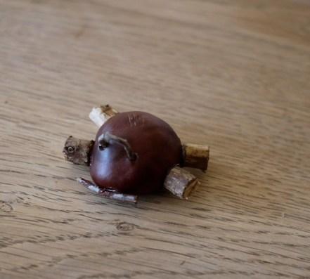 Basteln mit Kastanien: So sieht unser fertiger Turbo-Raser aus. foto (c) kinderoutdoor.de