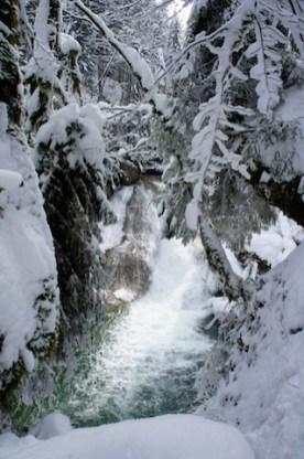 Beeindruckend sind im Winter die Wasserfälle vom Eistobel. (c) kinderoutdoor.de