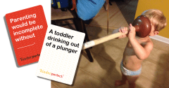 toddler drinking from a plunger