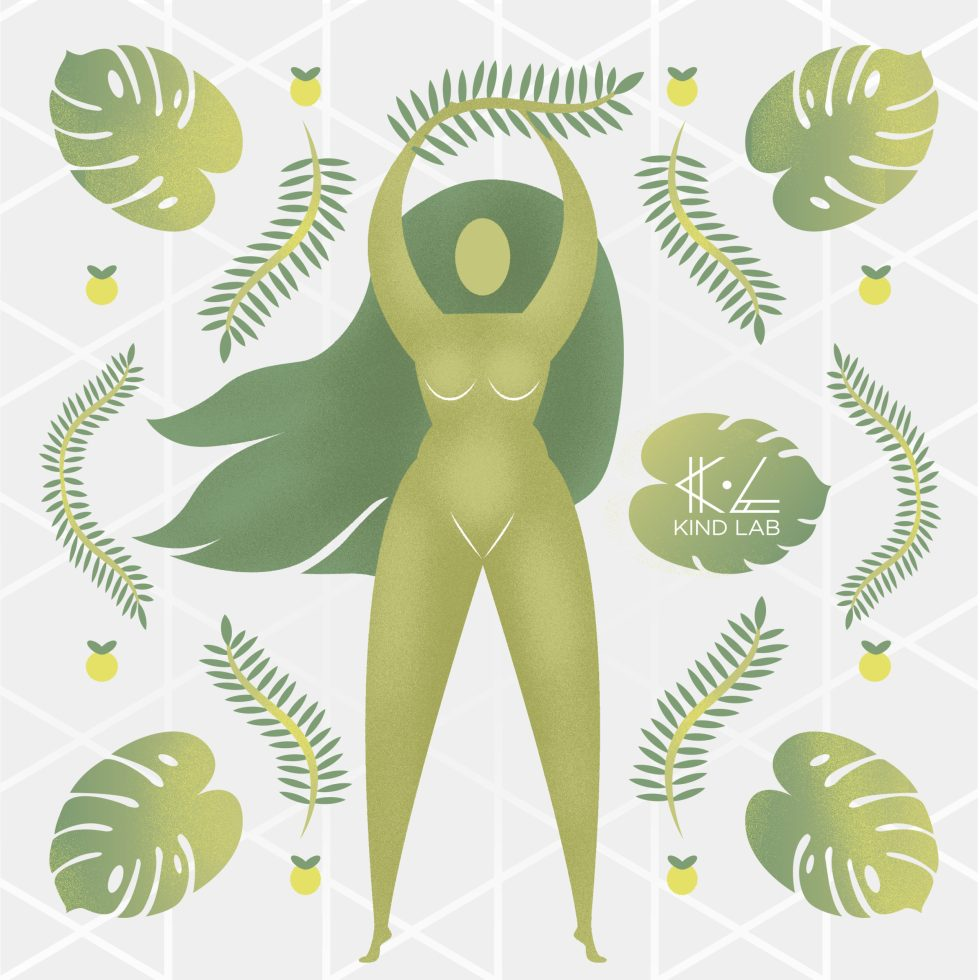 Green woman goddess illustration, vitality muse