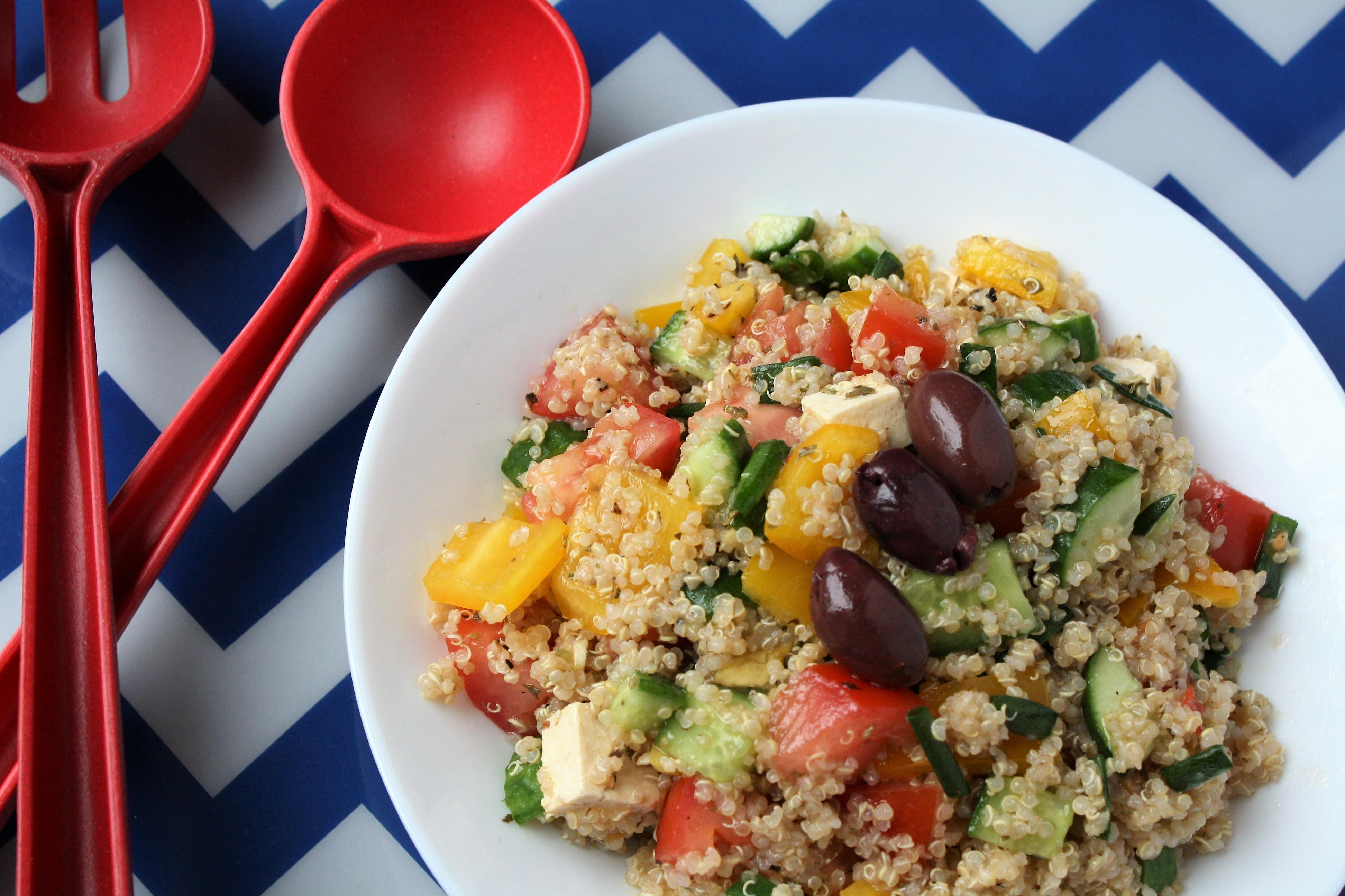 Greek Quinoa Salad with Tofu Feta