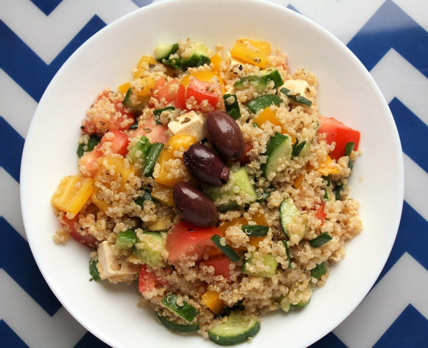Quinoa Greek Salad with Tofu Feta