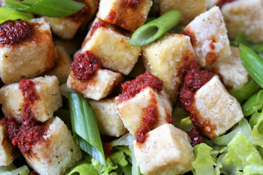 Crispy Salted Tofu with Spicy Pepper Sauce Close Up