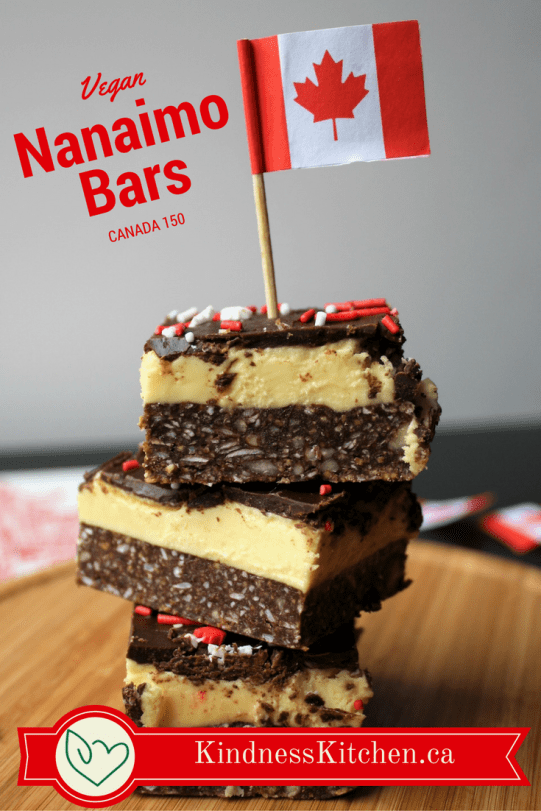 Nanaimo Bars stacked with Canadian flag and text