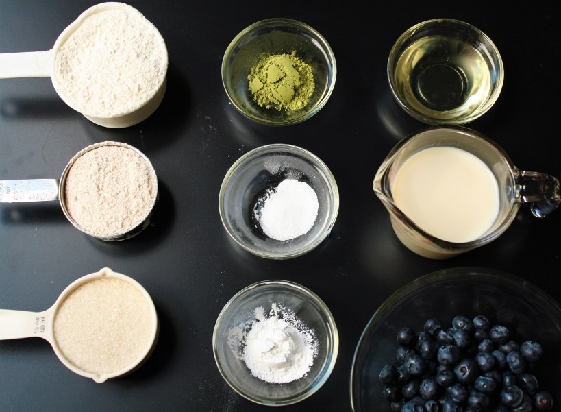Blueberry Matcha Muffins Ingredients