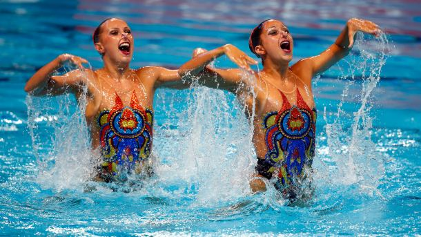 KAZAN, RUSSIA - JULY 30: Anita Alvarez and Mariya Koroleva of the United States compete in the Women's Duet Free Synchronised Swimming Final on day six of the 16th FINA World Championships at the Kazan Arena on July 30, 2015 in Kazan, Russia. (Photo by Clive Rose/Getty Images)
