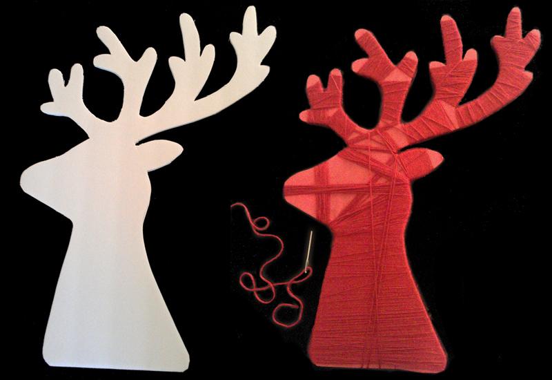Scandinavian Christmas mantel, red, reindeer, yarn, deer head, DIY, tutorial