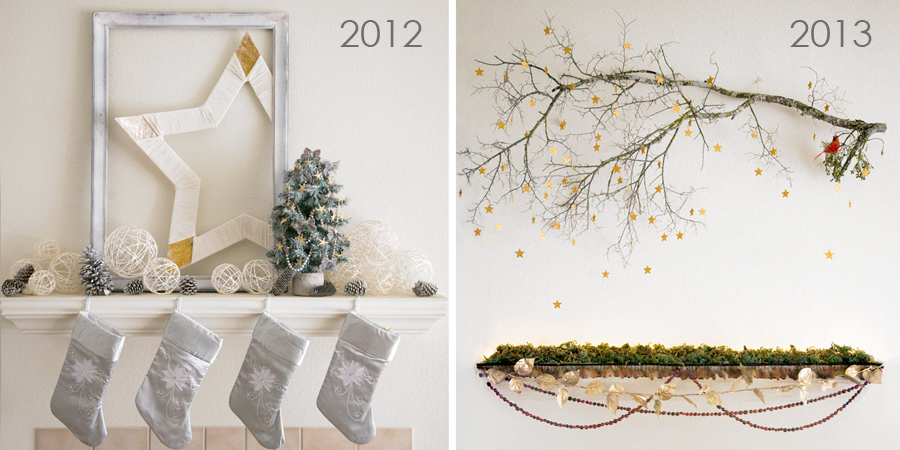 Christmas mantel, woodland, snow, white Christmas