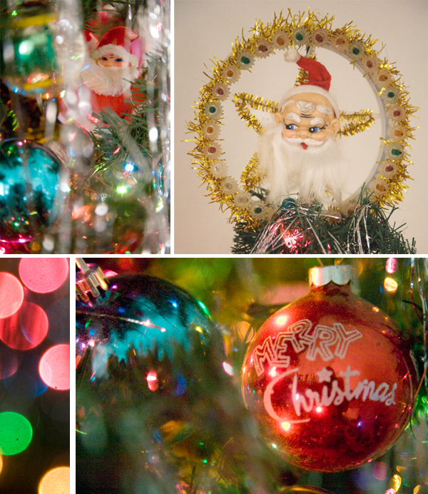 at the very edges and in the choicest spots are the little vintage santas bells and mistletoe ornaments then tinsel baby and lots of it - Vintage Tinsel Christmas Tree