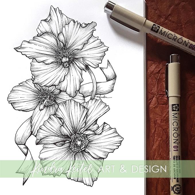 blue Himalayan poppy botanical illustration