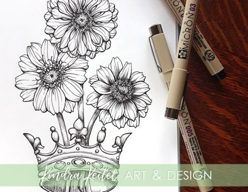 zinnia botanical illustration