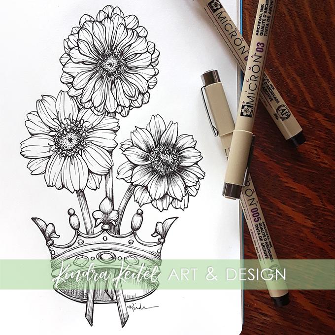 zinnia botanical illustration