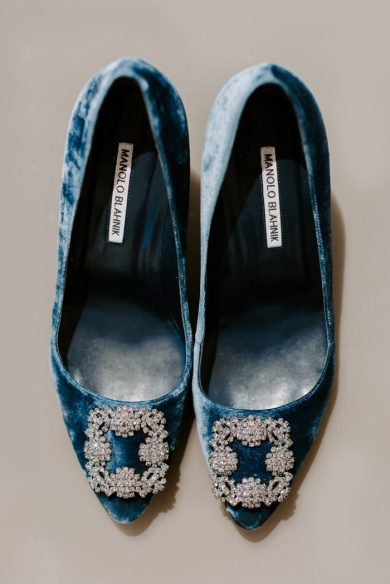 This bride chose Manolo Blahnik shoes in crushed blue velvet as her Something Blue.