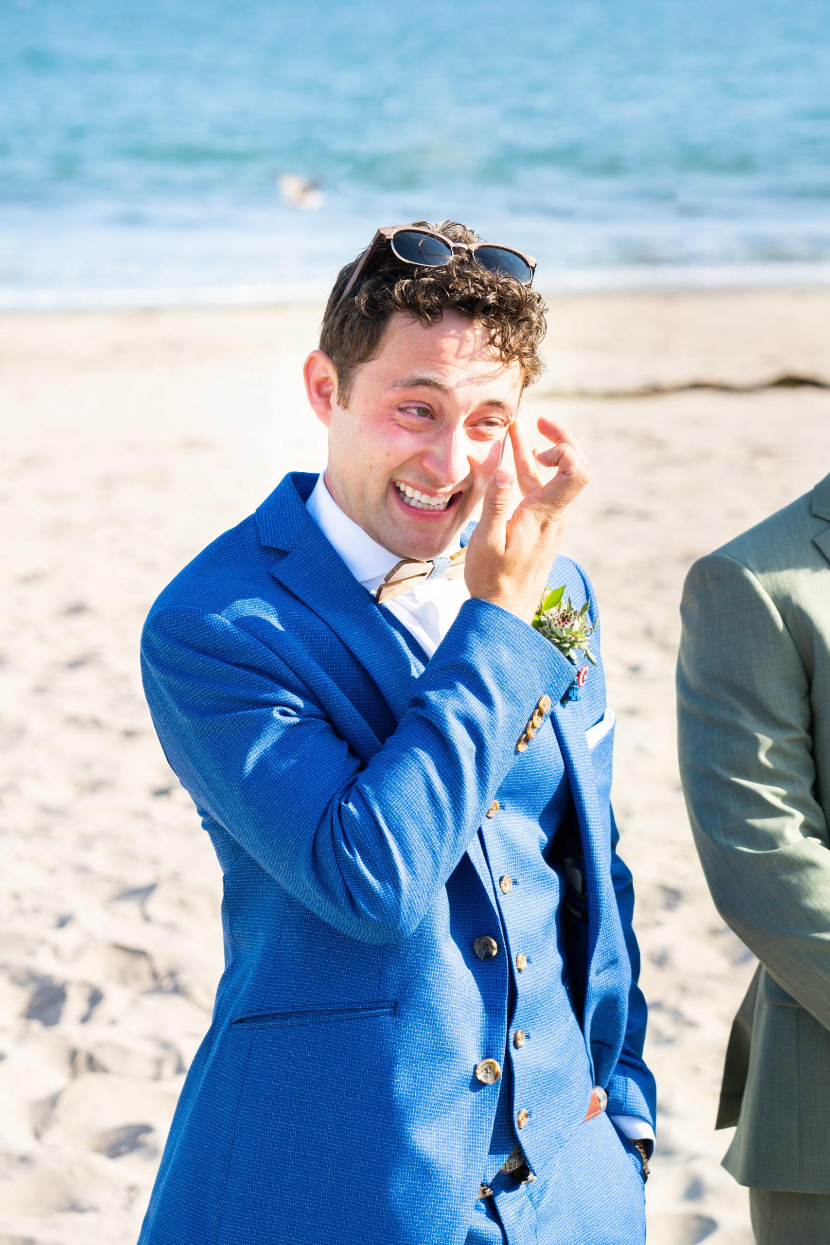 Emotional Groom seeing Bride at Ceremony